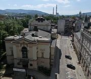 Teatr Polski oraz Zamek Sułkowskich z lotu ptaka