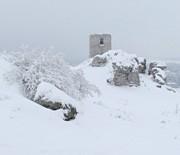 Zamek w Olsztynie zimą