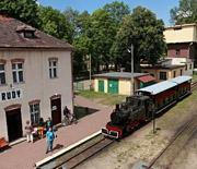 Stacja Kolejki Wąskotorowej w Rudach - widok z lotu ptaka